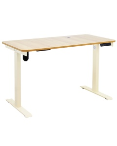 Johnson Series Electro-Mechanical Lift Table with Light Wood Laminate Top and Beige Frame