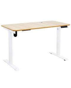 Johnson Series Electro-Mechanical Lift Table with Light Wood Laminate Top and White Frame