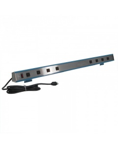 Stainless Steel and Aluminum Plug Strip with Lighted Switch 15-Amps - 16 Outlets