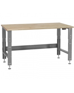 Roosevelt Series - Electric Hydraulic Lift with 1-3/4 Thick Oiled 100% Solid Maple Hardwood Top - Round Front Edge