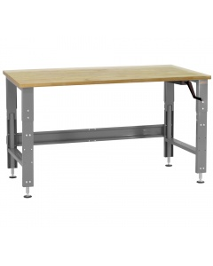 """Roosevelt Series - Manual Hydraulic Lift with 1-3/4"""" Thick 100% Lacquered Butcher Block and Square Cut Edge Top 12 Stroke"""