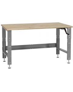 """Roosevelt Series - Manual Hydraulic Lift with 1-3/4"""" Thick 100% Oiled Butcher Block Top Round Front Edge 12 Stroke"""