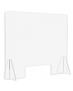 """Free Standing Acrylic Sneeze Guard / Shield - 3/16"""" Thick with Pass Through"""