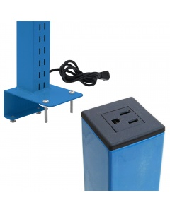 Single Sided Slotted Upright Set with Power Plug (Butcherblock)